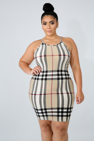 Plaid Body-Con Dress