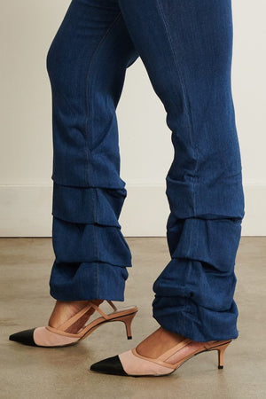 Dark Stone Runched Jeans - Plus