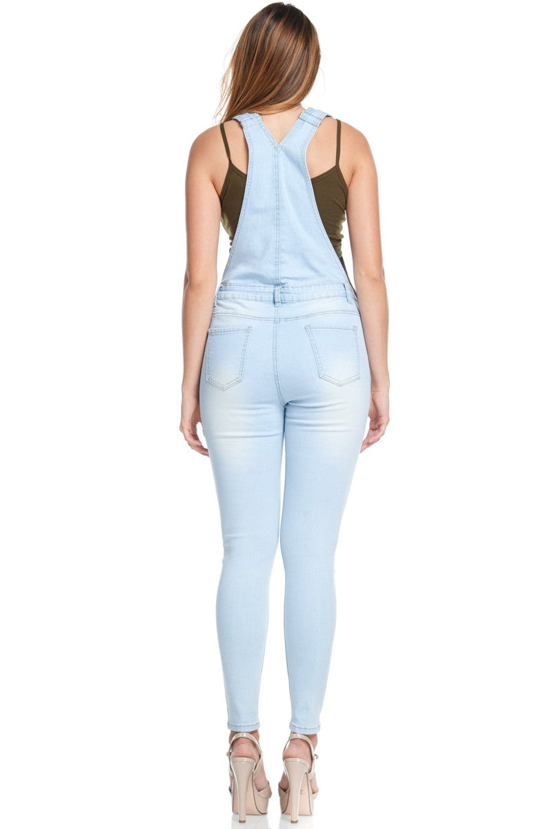 WOMEN'S DESTROYED DENIM SKINNY OVERALLS