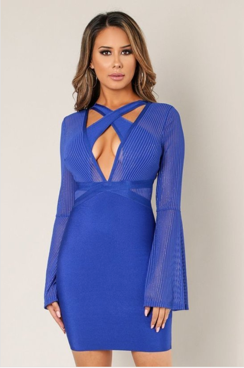 Striped Mesh Bell Long Sleeve Bandage Dress