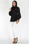 Black Solid Blouse with pleated peplum