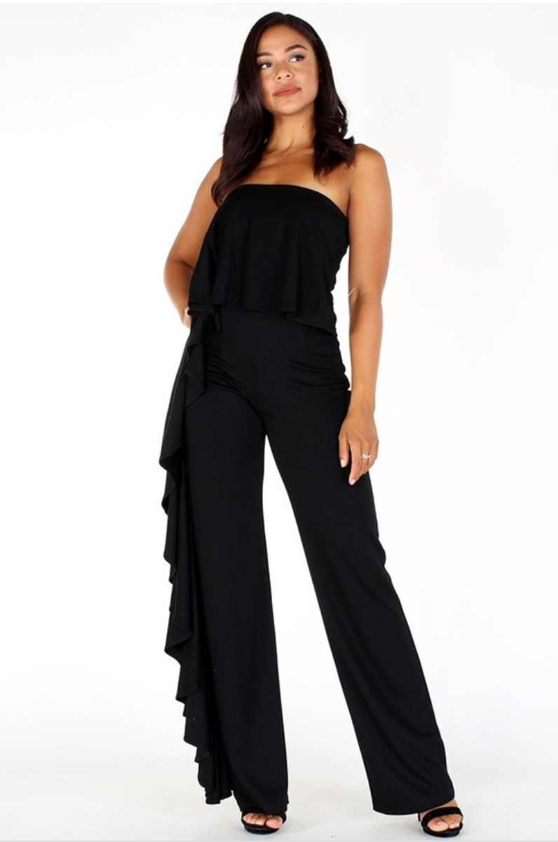 Wide Leg Strapless Jumpsuit w ruffle trimmed sides