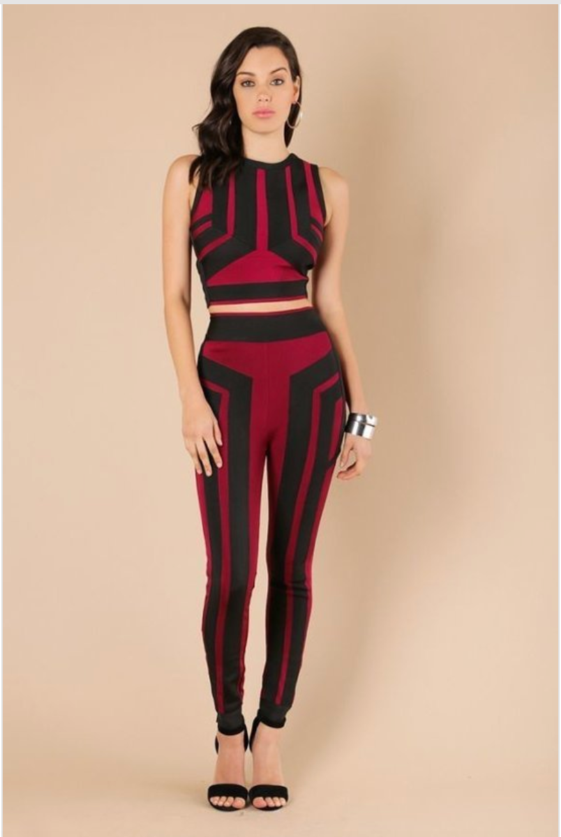 Color Blocked Two Piece Pants Set