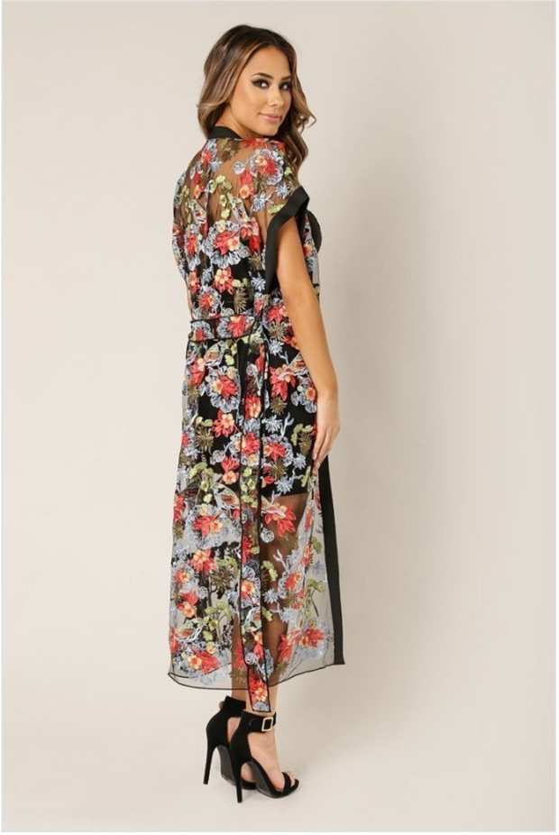 Floral Embroidered Sheer Cover up