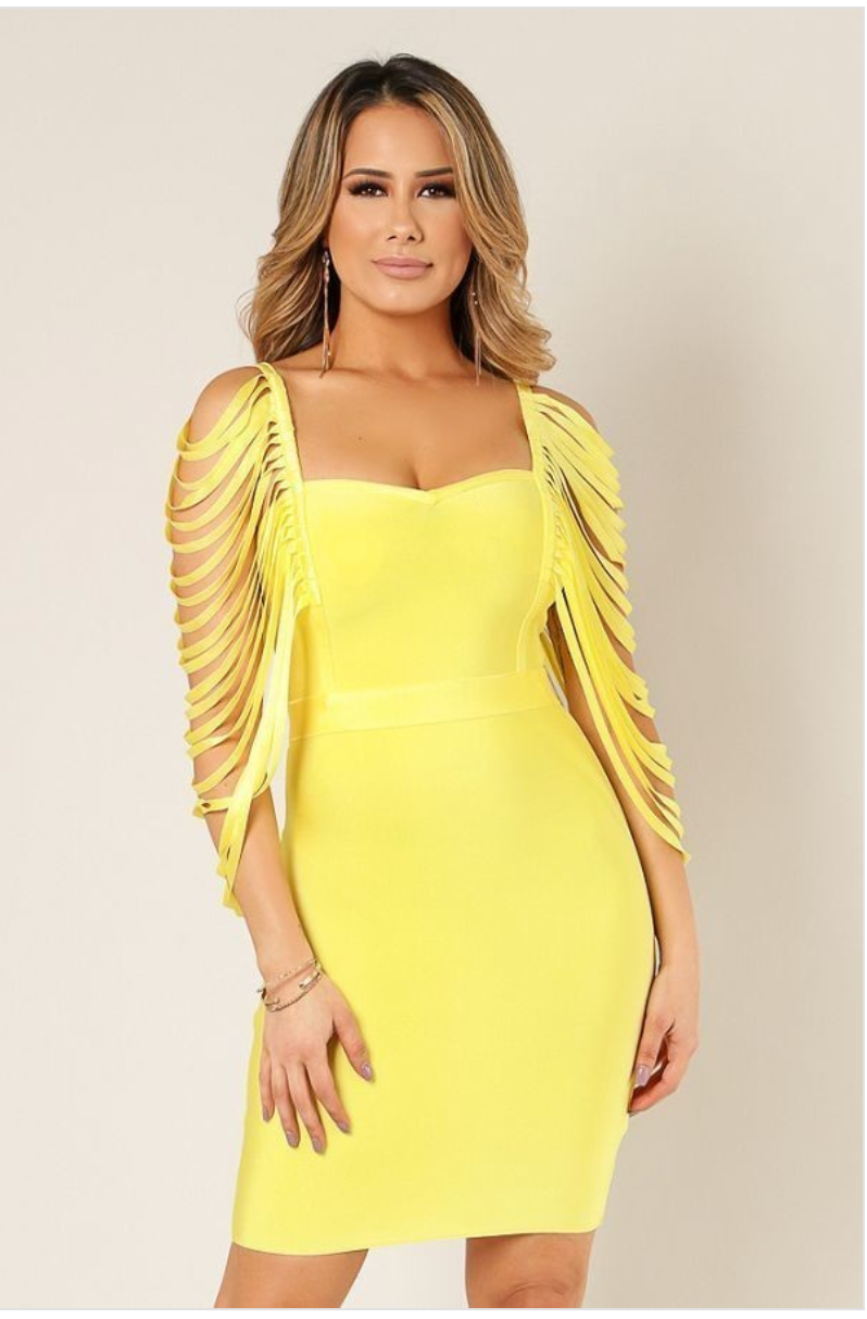 Yellow Ladder Sleeve Bandage Dress