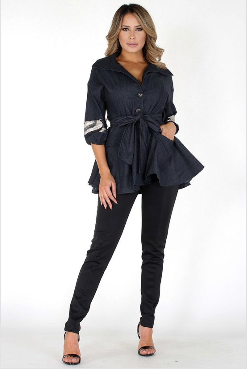 Hi-Low Denim Belted Shirt Jacket - Black