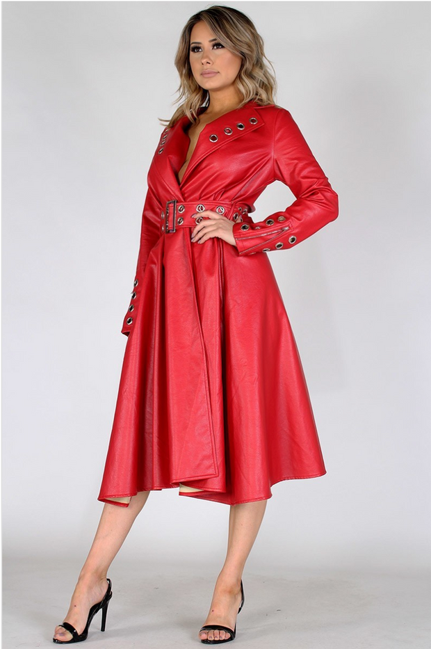 Red Faux Leather Coat Dress with eyelets