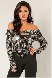2Fer Off The Shoulder Sequins Jacket