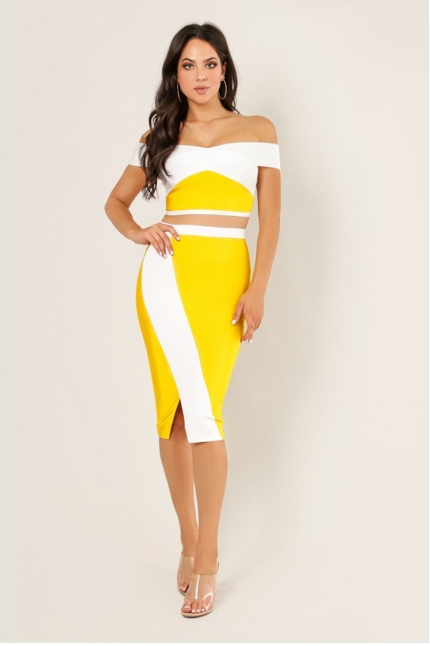 Off The Shoulder Color Block 2 Piece Set