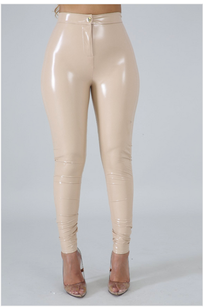 Beige Latex Cat Pants