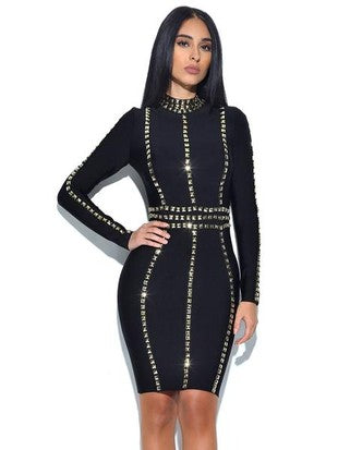 Black Gold Studded Bandage Dress