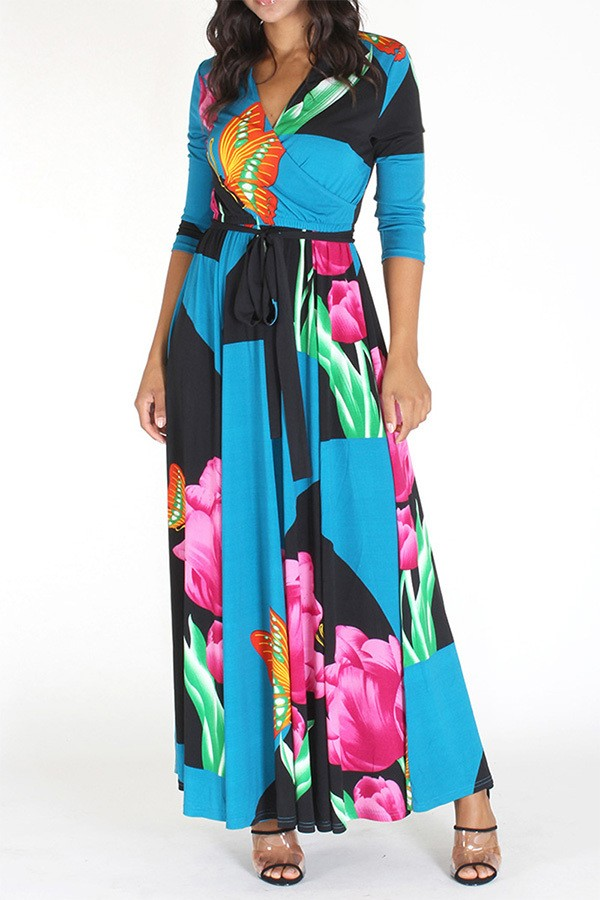 Long Sleeve Flower Maxi