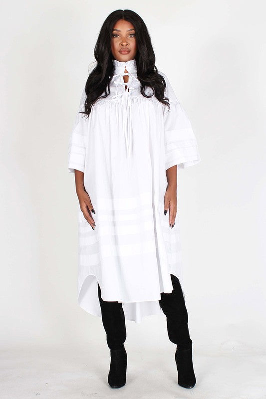 Long Wht Lo Midi dress