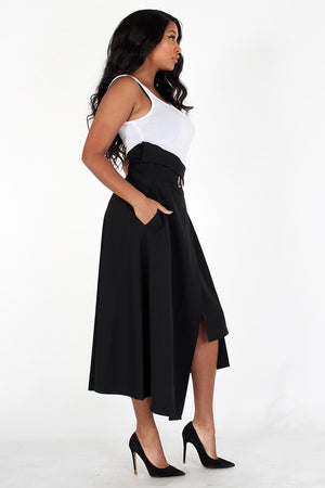 High Waist midi skirt with belt and pockets