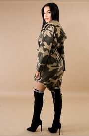 Oversize Hooded Drawstring Camouflage Jacket