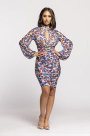 Front Keyhole Detailed Mock Neck Flower Dress