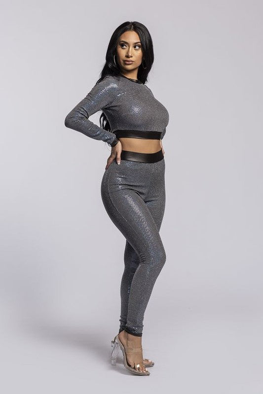 Silver 2-piece long sleeve disco pant set