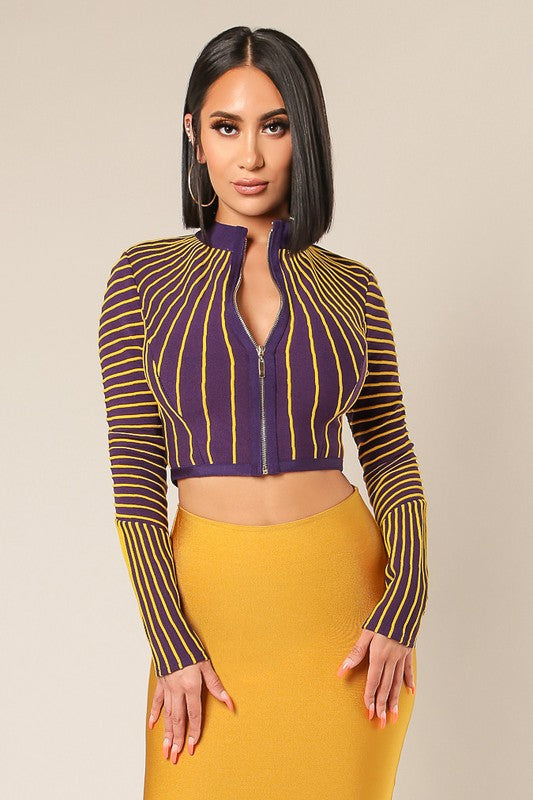 Balmain Stripe Cropped Jacket Top