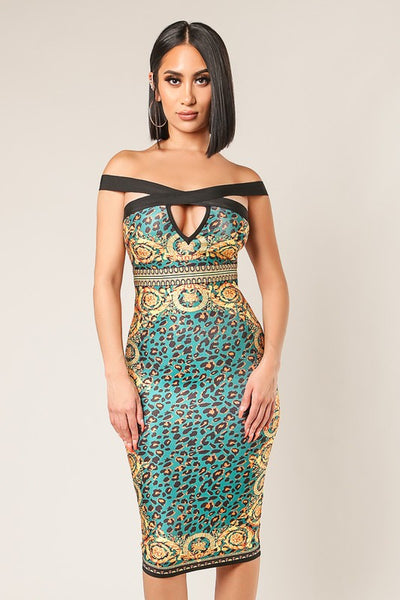 Off Shoulder Full Zipper Green and Gold Bandage Dress