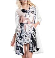 Hi-Lo Shirt Dress w front Printing