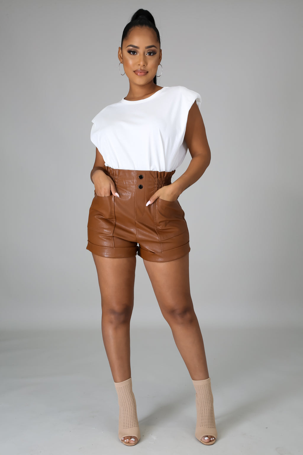 Brown Leather High Waist Shorts