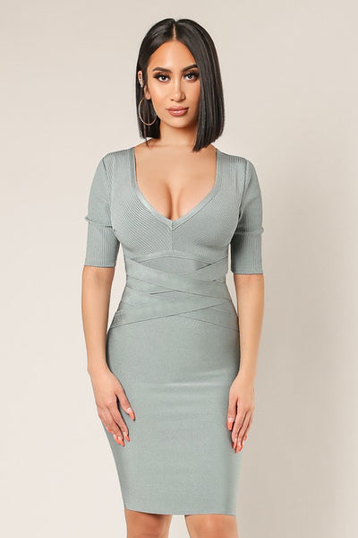 Front Banded Half Slv Bandage Dress