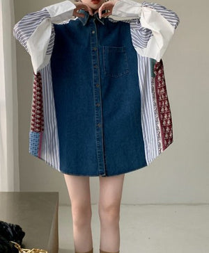 Denim Patchwork Shirt Dress