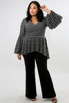 Stripe Flare Pelpum Top