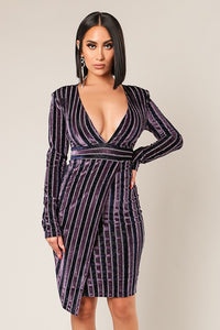 Purple Long Sleeve Plunging Neckline Front Overlap Dress