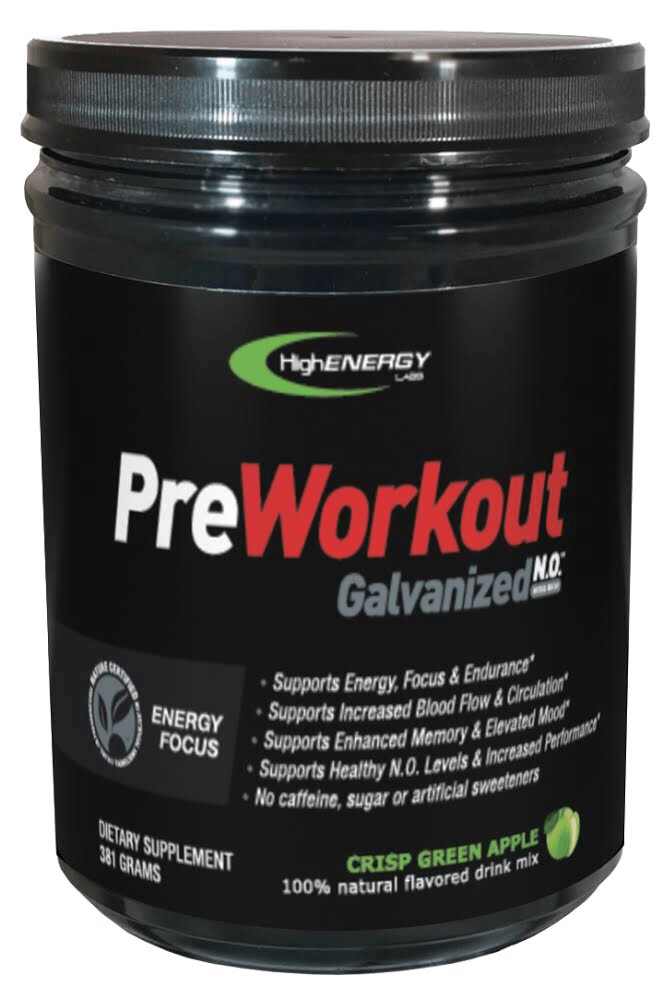 Galvanized N.O.  Stim Free Pre-workout (Crisp Green Apple) - High Energy Labs - Nutritional Supplements