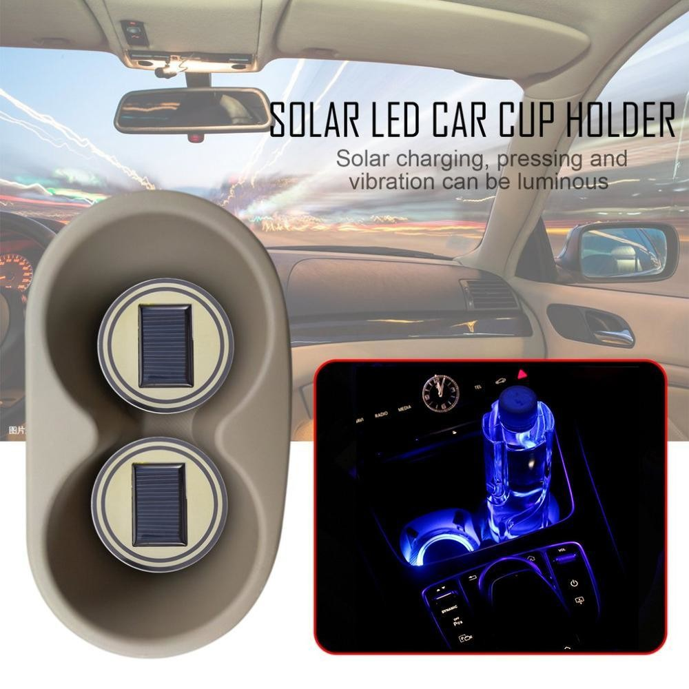 Solar Powered LED Cup Mat (2pcs) - autocessories
