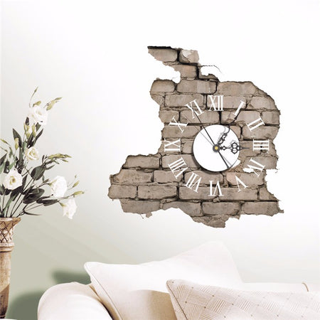3D Cracking Wall Sticker Clock Decals