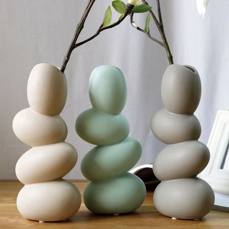 Ceramic Vase Egg Shape Flower Vase