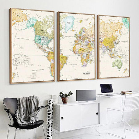 3 Panel Vintage HD WORLD MAP Canvas Wall Art