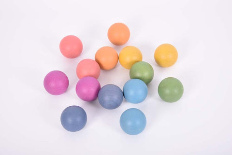 TickiT - Rainbow Wooden Balls pk14