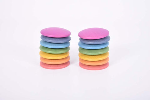 TickiT - Rainbow Wooden Discs pk14