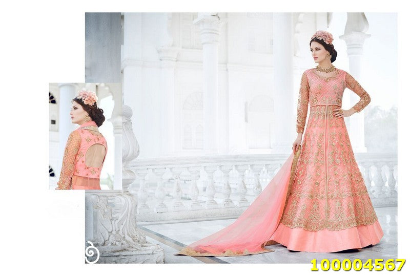 Peach Colour SemiStitched Salwar Suit