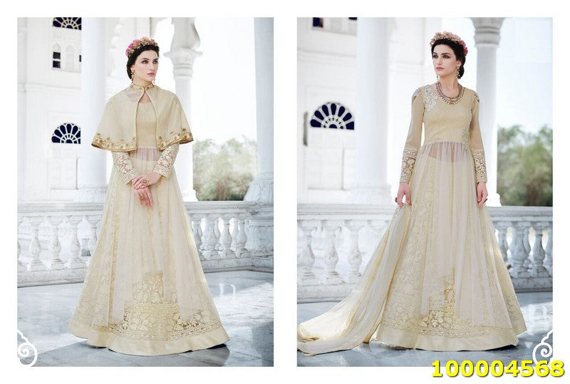 Cream Colour SemiStitched Salwar Suit