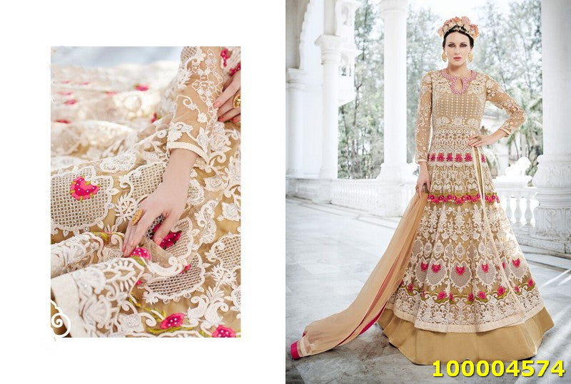 Beige Colour SemiStitched Salwar Suit