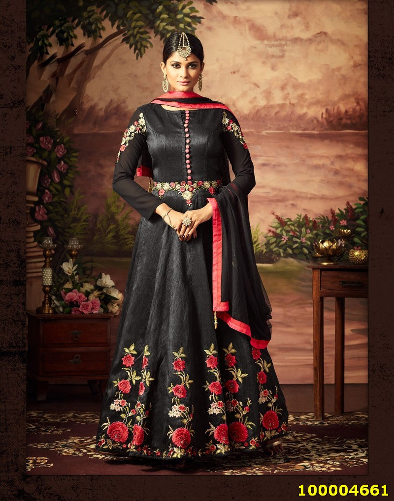 Black Colour SemiStitched Salwar Suit