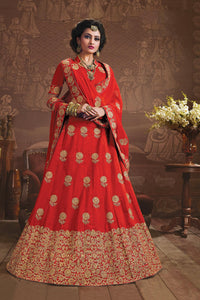 Red Party Wear Attractive Lehenga Choli With Crystals Stones and Embroidery Work by  Rawaaj