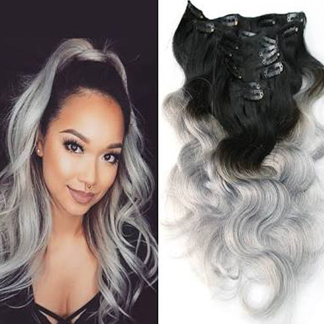Ombre' 1B / Grey10A Virgin Brazilian clip in extensions