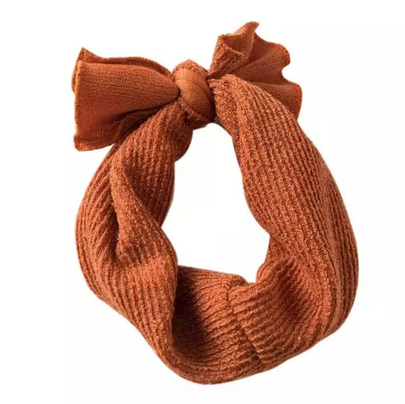 Knitted Bow Headband - Burnt Orange