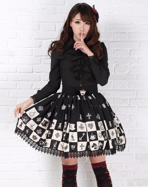 harajuku fashion japan trends black and white chess checkerboard lolita skirt kawaii babe
