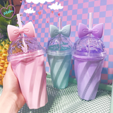 pastel princess bow water bottle with straw fairy kei kawaii babe