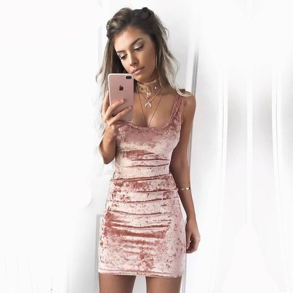 soft velour velvet bodycon dress sleek sexy sultry sleeveless tank dress by kawaii babe