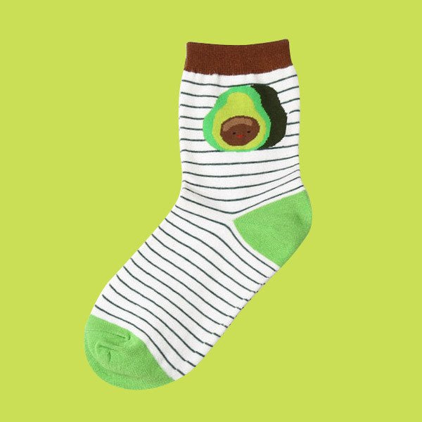 striped avocado guacamole socks green brown stripes stockings kawaii face fruit nut by kawaii babe