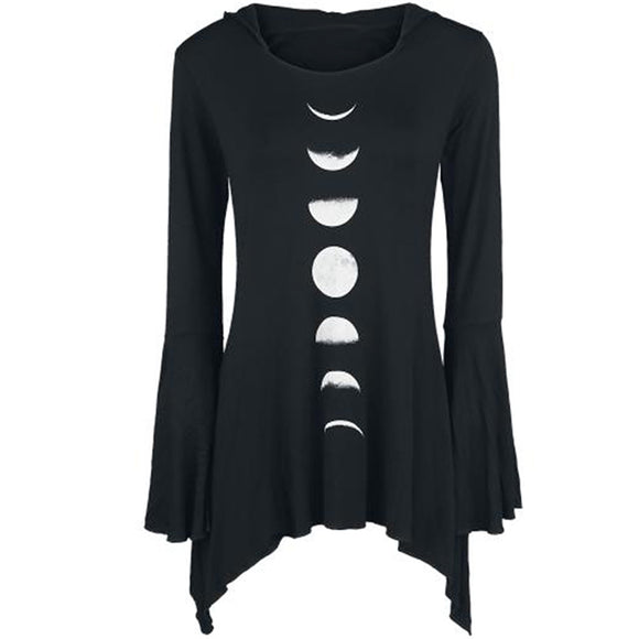Moon Phase Hooded Shirt