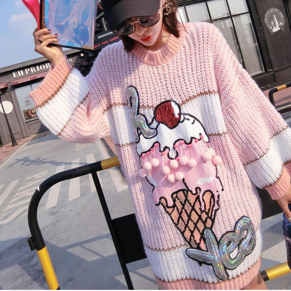 Ice Cream Knit Sweater Dress