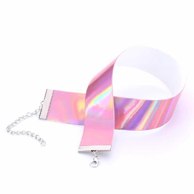 holographic k-pop j-pop choker necklace collar shiny metallic ball gaga harajuku japan fashion tumblr aesthetic by kawaii babe